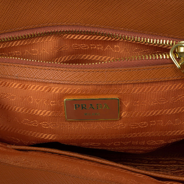 Prada Orange Saffiano Lux Small Double Zip Tote