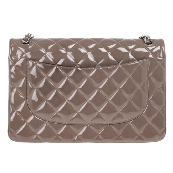 Chanel Beige Patent Classic Jumbo Flap Bag