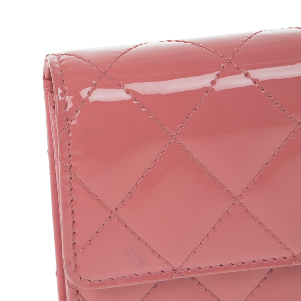 Chanel Pink Patent Quilted Continental Wallet
