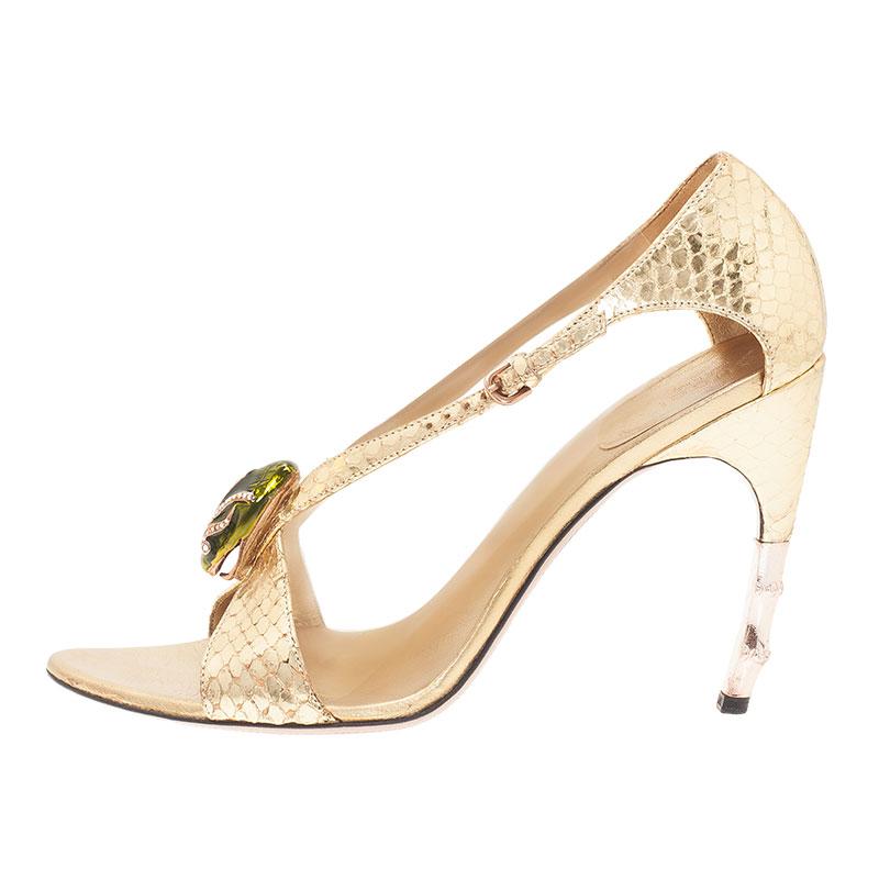 Gucci Metallic Gold Python Jeweled Bamboo Heel Sandals Size 38.5