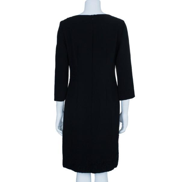 Philosophy Di Alberta Ferretti Black Embroidered Lace Paneled Dress M