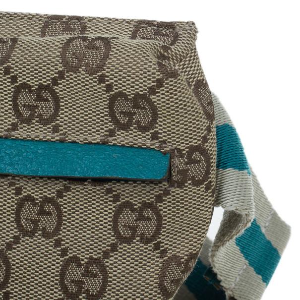 Gucci Turquoise Canvas Monogram Waistbelt Bag
