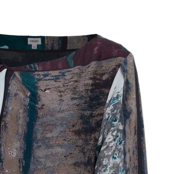 Kenzo Printed Silk Shift Dress L