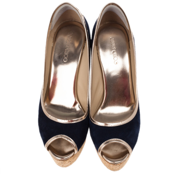Jimmy Choo Blue Suede Papina Cork Wedge Pumps Size 39