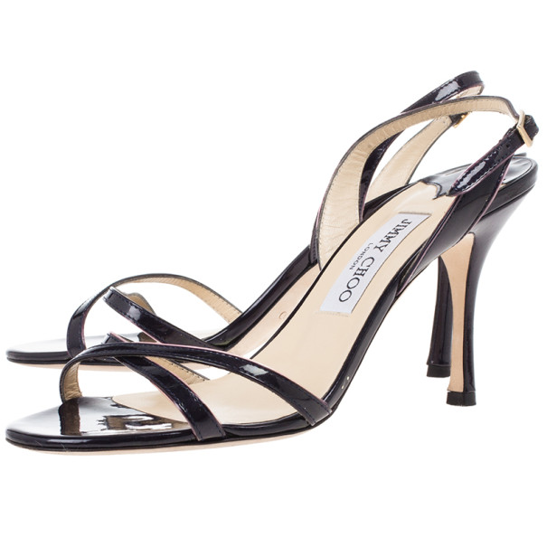 Jimmy Choo Navy Patent Leather India Slingback Sandals Size 38.5