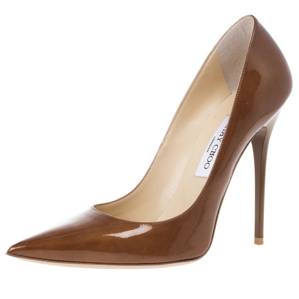 Jimmy Choo Brown Patent Anouk Pointed Toe Pumps Size 39.5