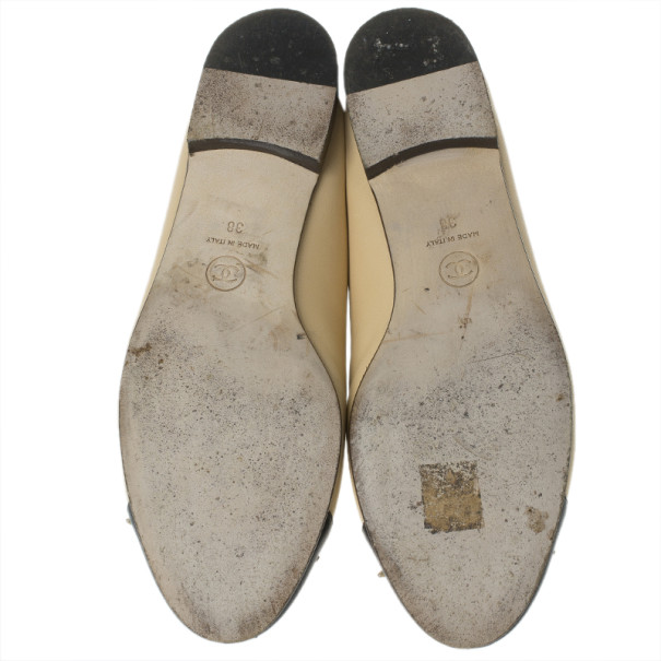 Chanel Beige Leather CC Cap Toe Ballet Flats Size 38