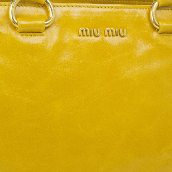 Miu Miu Yellow Vitello Shine Tote