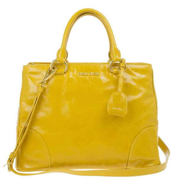 Buy Miu Miu Yellow Vitello Shine Tote 13150 at best price  691205137bf4e