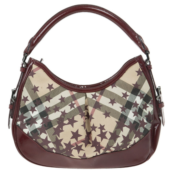 Burberry Nova Check Berry Red Star Small Hernville Hobo