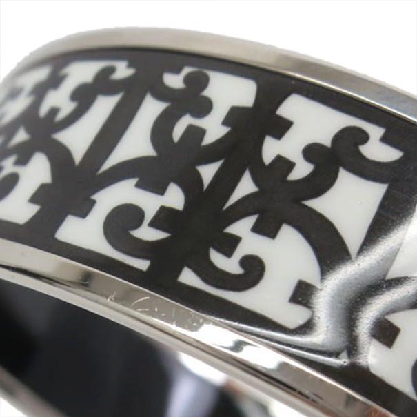 Hermes Balcons du Guadalquivir Cloisonne Black and White Enamel Bangle 20CM
