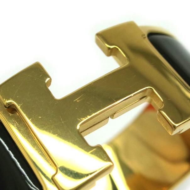 Hermes Clic Clac H Wide Gold-Plated Brown Enamel Bracelet PM