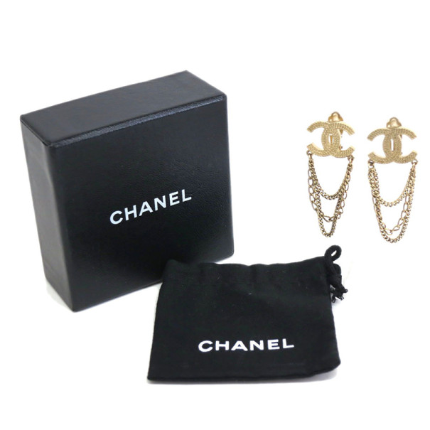 Chanel CC Logo Dangling Chains Gold-Plated Earrings