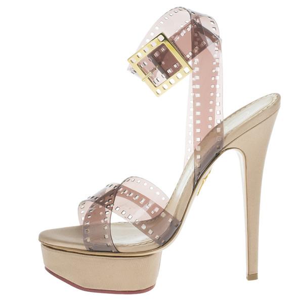 Charlotte Olympia Beige Vinyl and Satin Girls On Film Platform Sandals Size 39