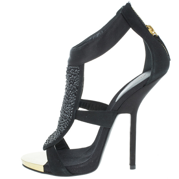 Giuseppe Zanotti Black Satin and Suede Crystal Sandals Size 39