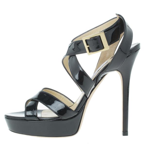 Jimmy Choo Black Patent Vamp Platform Sandals Size 36
