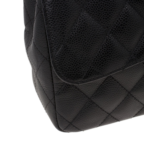 Chanel Black Caviar Leather Jumbo Flap Bag