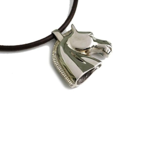 Hermes Silver Palladium Horse Pendant Necklace