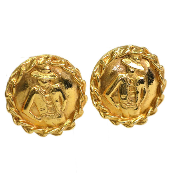 Chanel Vintage Mademoiselle Gold-Plated Earrings