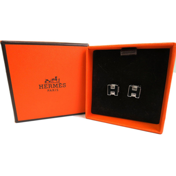 Hermes Cage d'H Black Enamel Palladium-Plated Earrings