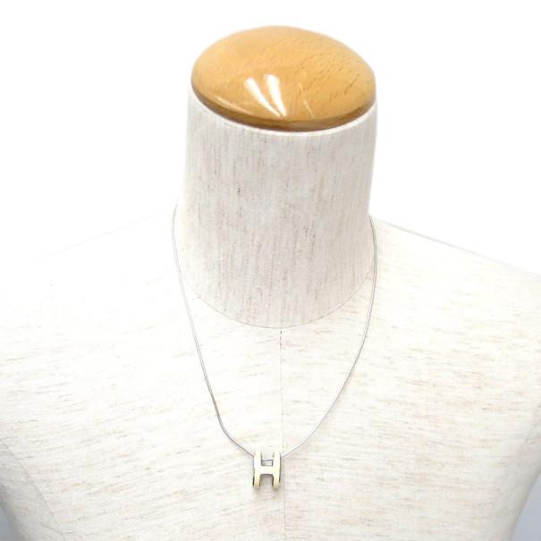 Hermes Pop H White Laquered Pendant Necklace