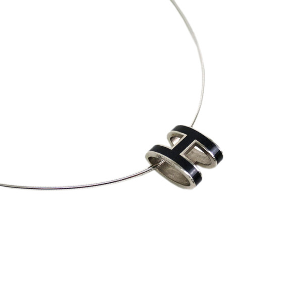 Hermes Black Laquered Pop H Pendant Necklace