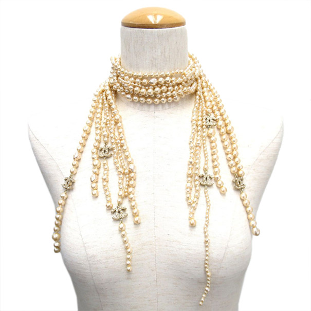 Chanel Pearl Multistrand Lariat Necklace