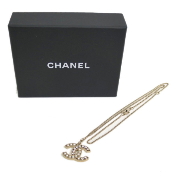 Chanel CC Logo Crystal and Pearls Pendant Necklace