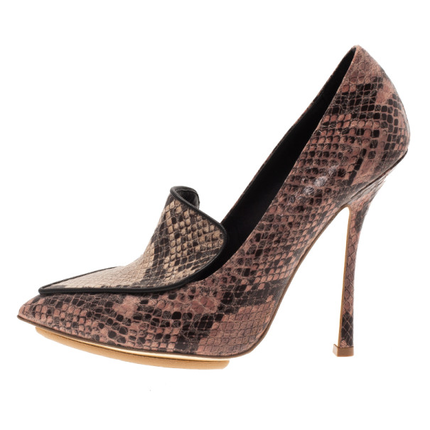 Stella McCartney Python Embossed Pointed Toe Loafer Pumps Size 38