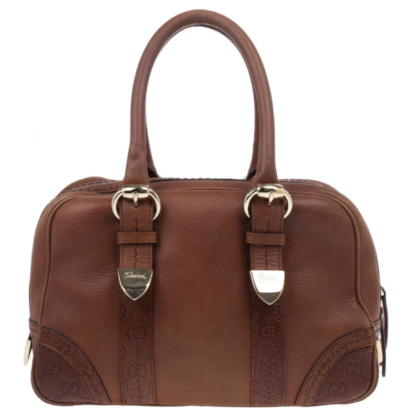 Gucci Brown Micro Guccissima Trim Medium Boston Bag