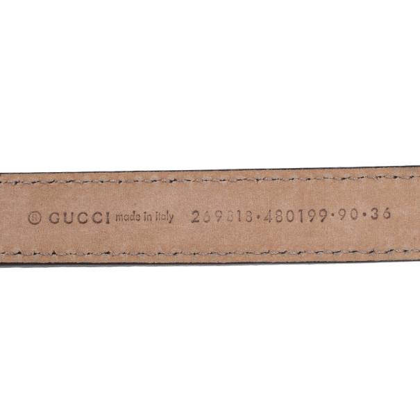 Gucci Black Leather Double G Buckle Belt 90CM