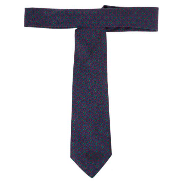 Hermes Purple Floral Print Silk Tie