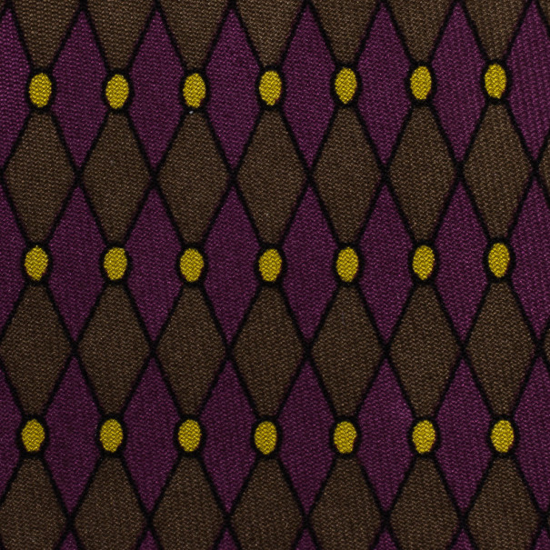 Hermes Purple Diamond Print Silk Tie