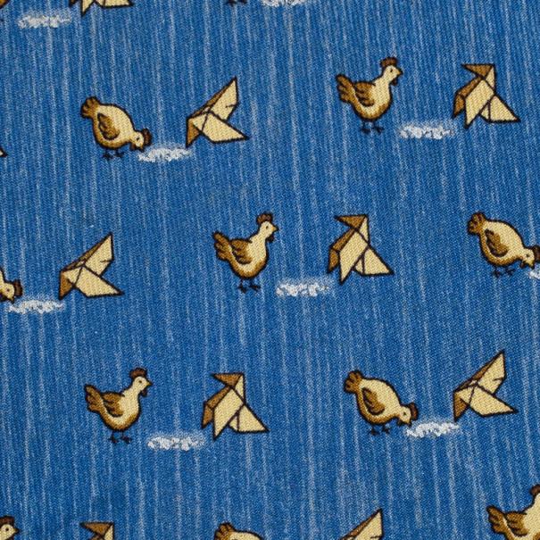 Hermes Blue Bird Print Silk Tie