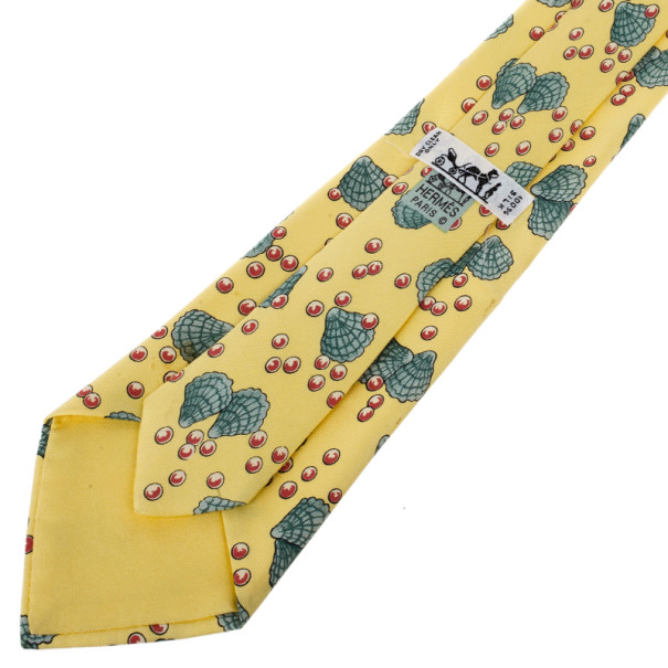 Hermes Yellow Shell and Pearl Print Tie