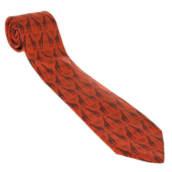 Hermes Orange Giraffe and Palm Tree Print Silk Tie