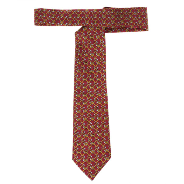Hermes Red Trumpet Horns Print Silk Tie