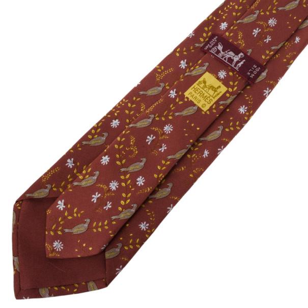 Hermes Brown Bird and Flowers Print Silk Tie