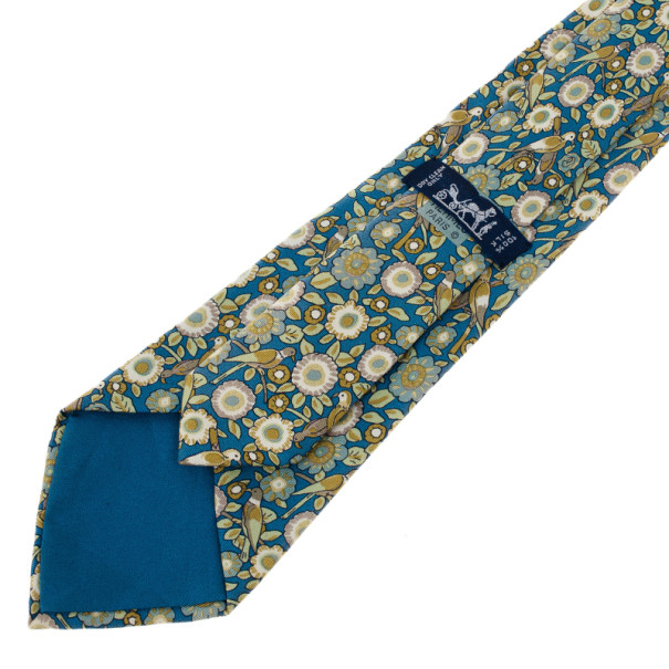Hermes Blue and Green Floral Silk Tie