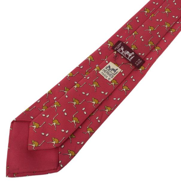 Hermes Red Ostrich and Egg Print Silk Tie