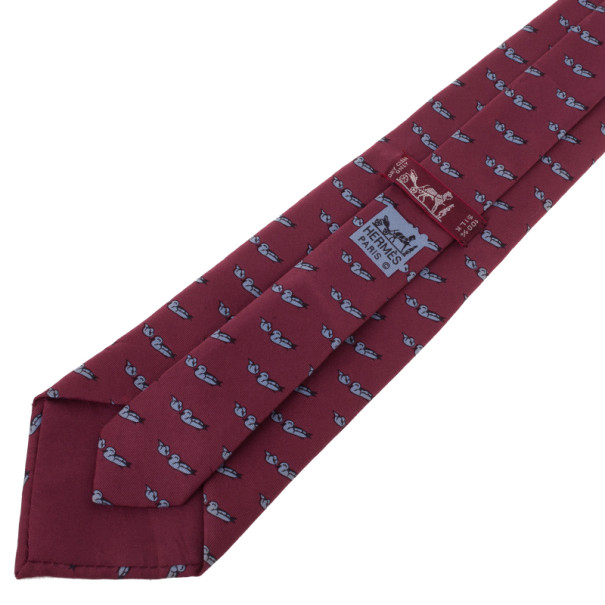 Hermes Red Duck Print Vintage Silk Tie