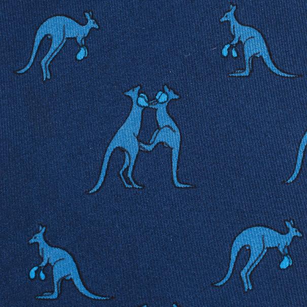 Hermes Blue Boxing Kangaroo Print Silk Tie