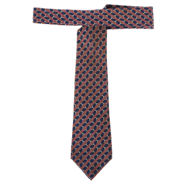 Hermes Blue Buckle Print Silk Tie