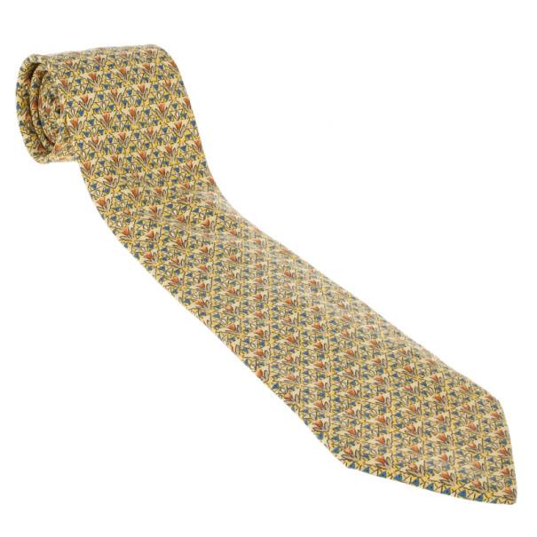 Hermes Yellow Floral Print Silk Tie