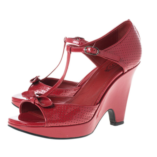 Tod's Maroon Patent T Strap Wedges Size 37