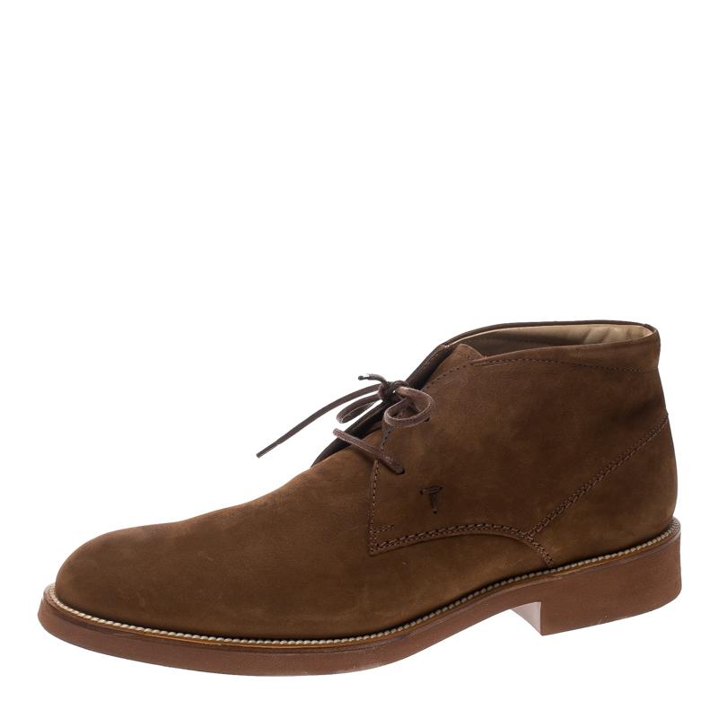 Купить со скидкой Tod's Brown Nubuck Lace Up Chukka Ankle Boots Size 44
