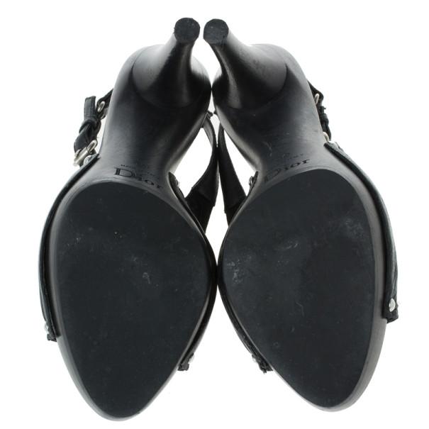 Dior Black Leather Slingback Sandals Size 36
