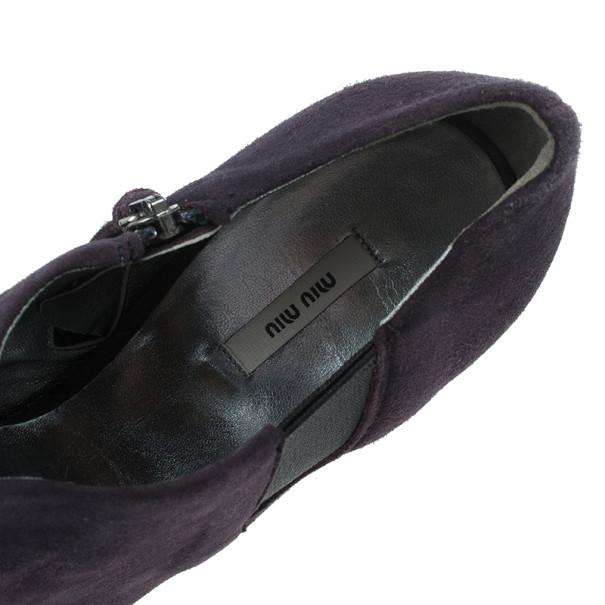 Miu Miu Purple Suede Ankle Booties Size 36.5