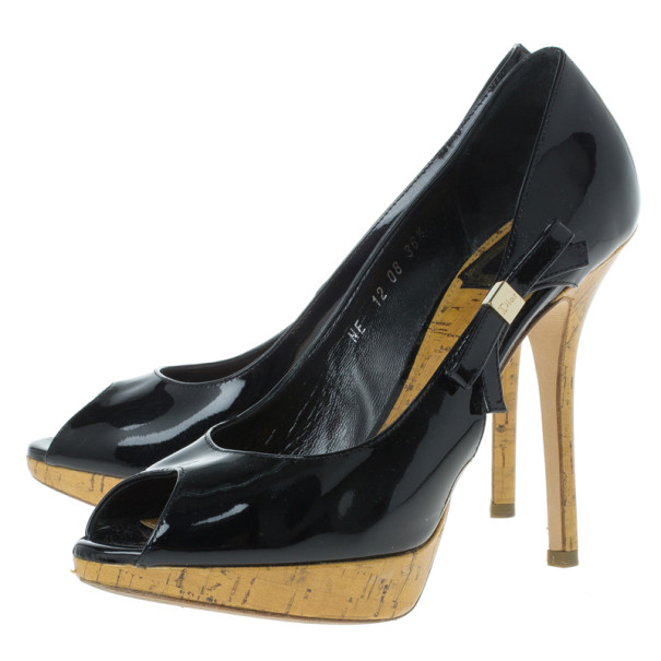 Dior Black Patent Leather 'Starlet' Peep Toe Pumps Size 36.5