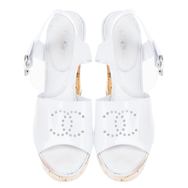Chanel White Patent Cork Heel Ankle Strap Sandals Size 37